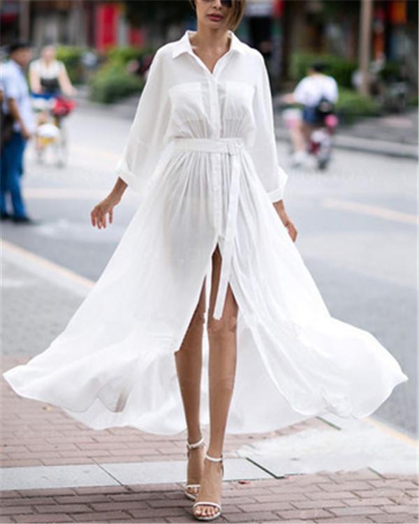 Solid Stand Collar Elegant  Shift Bench Vocation Dresses