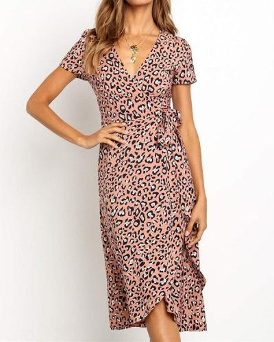 Chiffon Leopard Printed V-neck High Waist Lace-up Dress