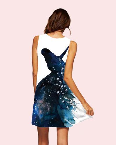 Summer Casual Deer Printed Sleeveless Beach Dress