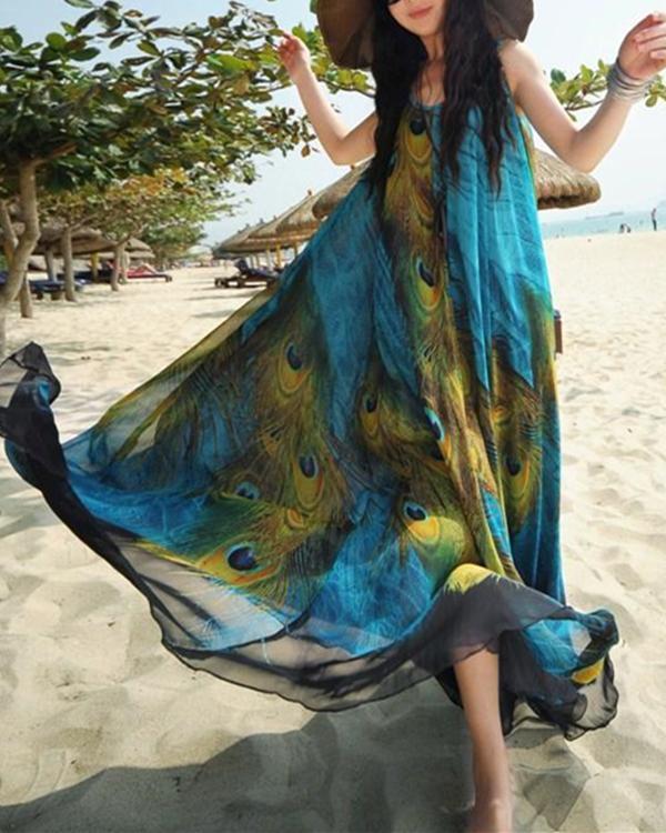 Bohemian Women Sleeveless O Neck Peacock Printed Maxi Dresses
