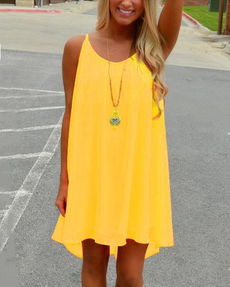 Chiffon Leisure Solid Slip Mini Dress