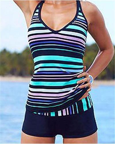 Women's Plus Size Sporty Halter Neck Striped Print Tankini Swimwear