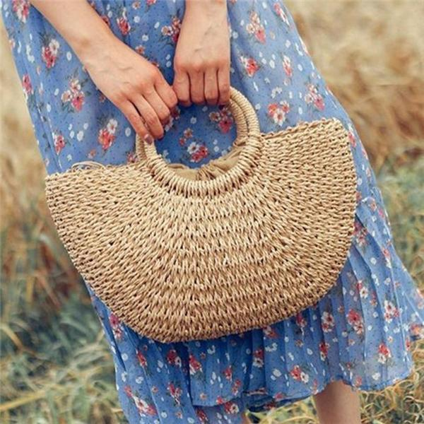 Womens Casual Beach Style Straw Bucket  Bags