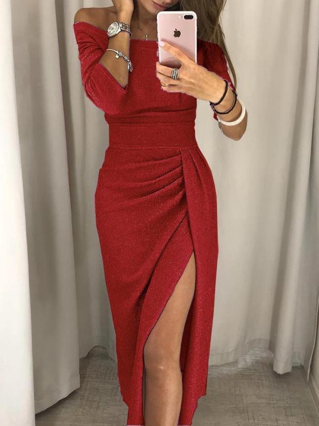 Women Sequined Long Sleeve Off Shoulder Plus Size Party Dress