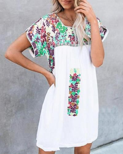 Bohemian Floral Printed Holiday Daily Fashion Mini Dresses