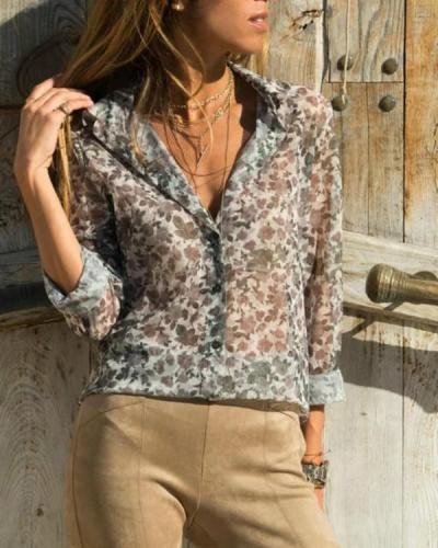 Spring Lady's Elegant Floral Shirt Collar Shirts Tops