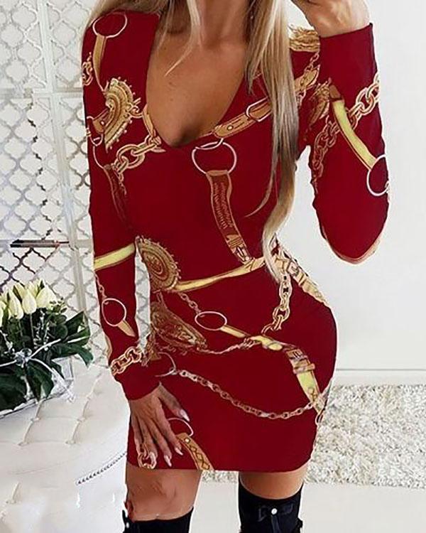 Womens Deep V Neck Dresses Floral Midi Dresses Print Long Sleeve Bodycon Dress