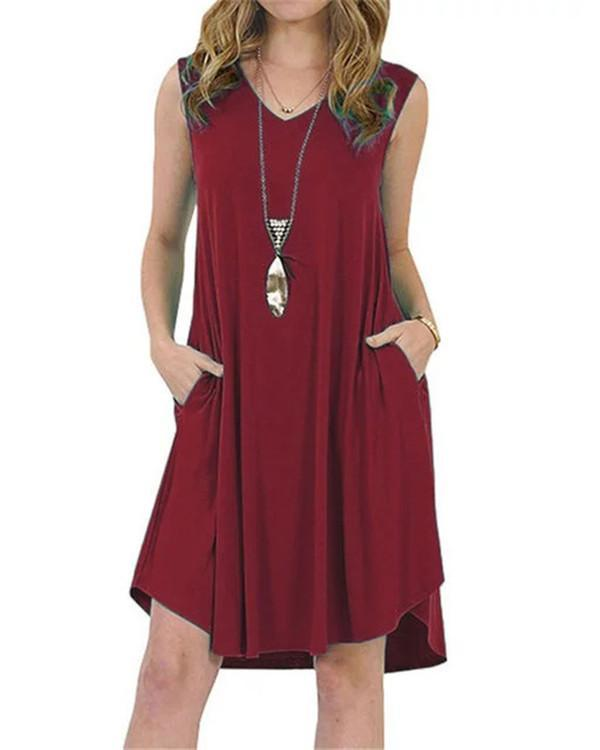 7 Colors Sleeveless Double Pocket Solid Summer Holiday Daily Fashion Mini Dresses
