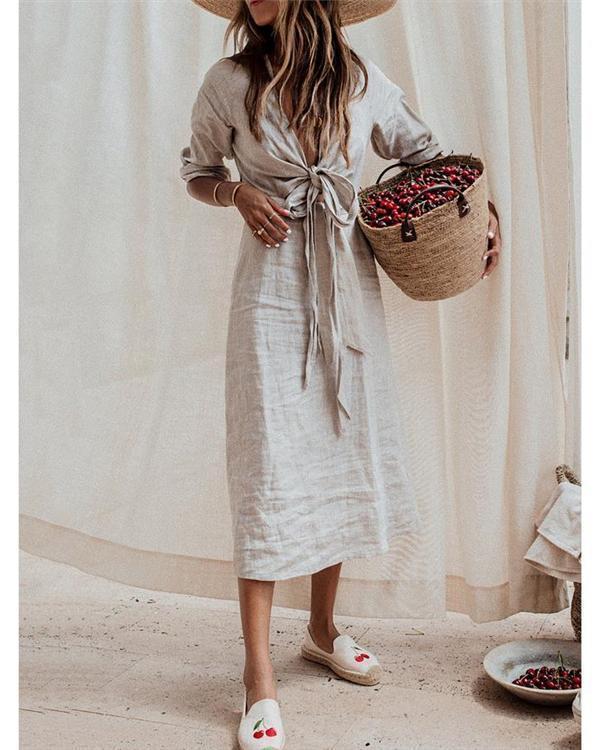 Gray Solid Linen Bandage Summer Dress