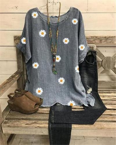 Women Plus Size Short Sleeve Floral Printed Cotton Blouse