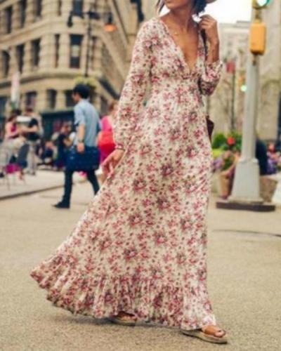 Women Floral V Neck Maxi Long Bohemian Dress Long Sleeve Beach Party Dresses
