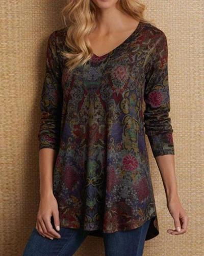 Women Long Sleeve Boho V Neck Plus Size Tops Blouses