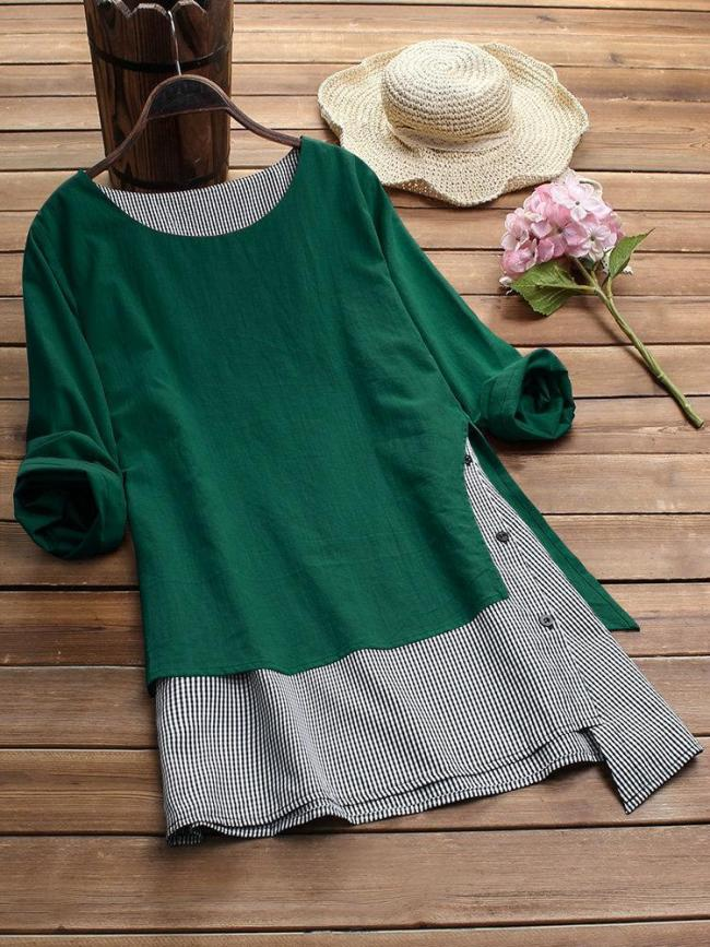 Women Stripe Patchwork Asymmetrical Long Sleeve Casual T-shirts Tops