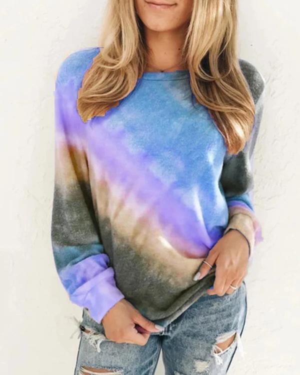 Casual Plus Size Tie-Dye Long Sleeve Sweatshirt
