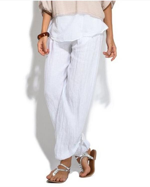 Women Casual Button Plus Size Wide Leg Pants
