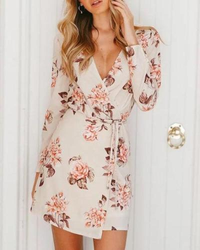 Wrap Front V-neck Floral Print Mini Dress