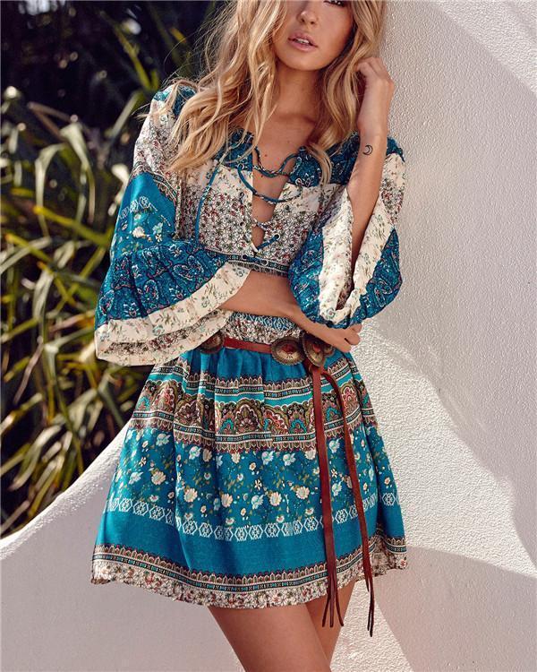 Bohemian V Neck Short Sleeve Mini Dress