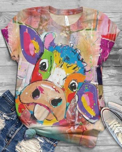 Multicolor Cow Printed Round Neck Short Sleeve Shift Shirts & Tops