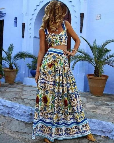 Green Floral Print V-neck Shoulder-Strap Two Piece Vacation Summer Maxi Dress