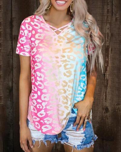 Gradient Color Criss-Cross T-Shirt Tee