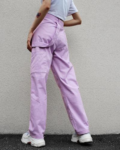 Women's Cotton High Waist Loose Overalls Pants