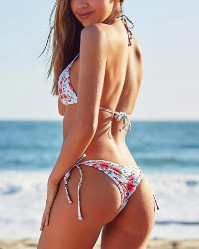 Sexy Strappy Printed Bikini