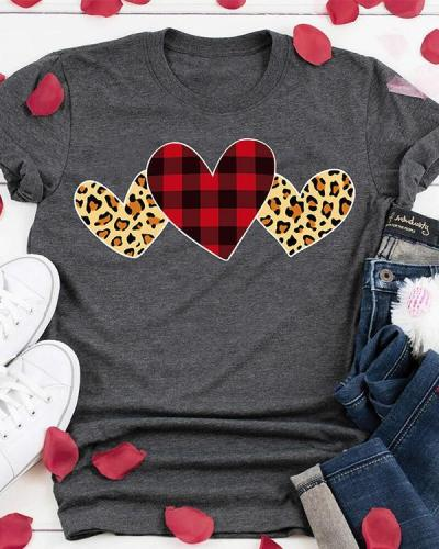 Plaid Leopard Printed Heart T-Shirt Tee