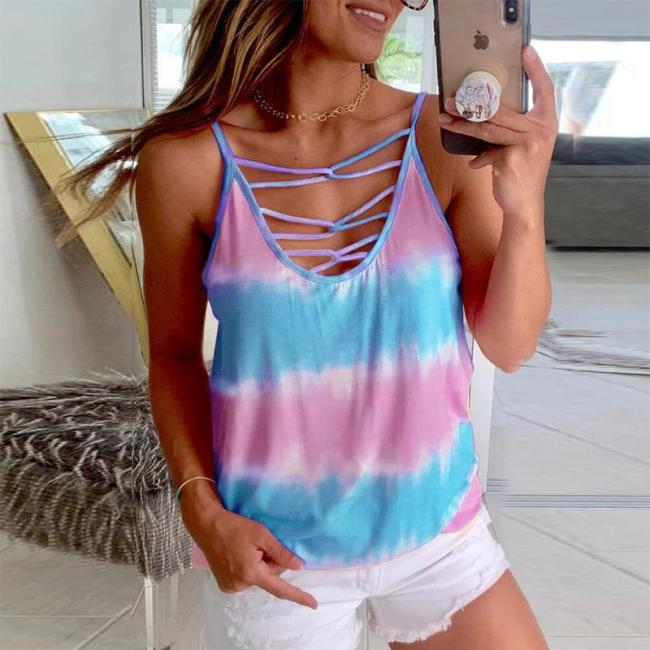 Womens Tie-dye Color Sleeveless Vest T-shirt