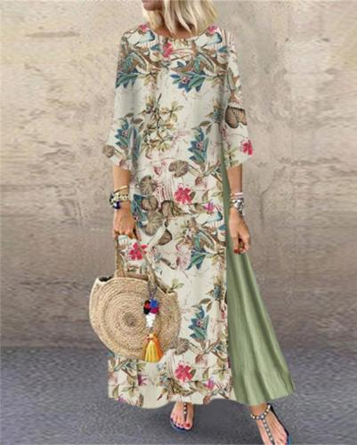 Patched Fashion Linen 3/4 Sleeve  Holiday Dresses Shift Daytime Maxi Dresses