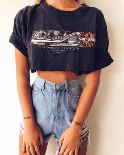 Women's Daily Letter Print T-Shirt Black Tops