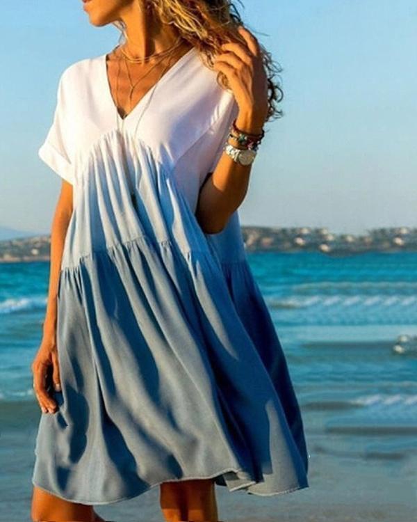 V Neck Gradient Short Sleeve Plus Size Casual Dress