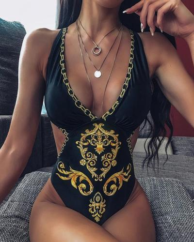 Women Summer Halter Printing Swimsuit