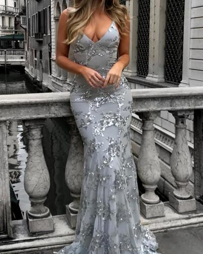 Women Sequined Elegant Maxi Slim Bodycon Glitter Strap Solid Color Dress