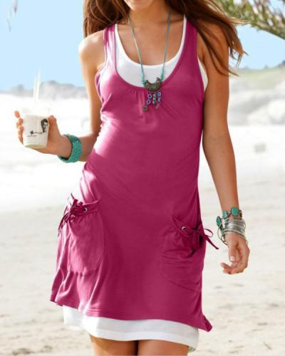 Women Casual Cotton-blend Sleeveless Paneled Summer Dress