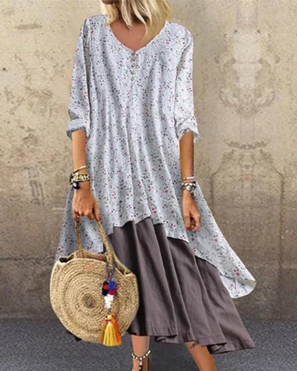 V Neck Women Dresses A-Line Going Out Boho Cotton Dresses