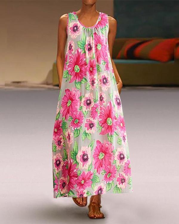 Women Elegant Round Neck Printed Colour Sleeveless Pleated Dress