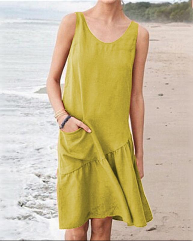 Women Solid Sleeveless Casual Midi Dress