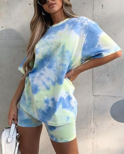 Fashion tie-dyed color loose casual suit