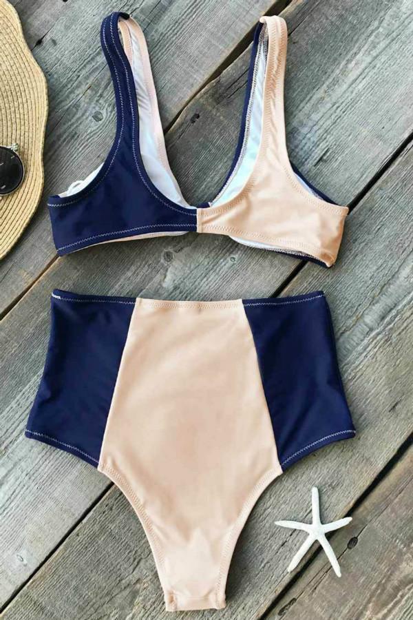 Color Blocking High Waisted Bikini Set