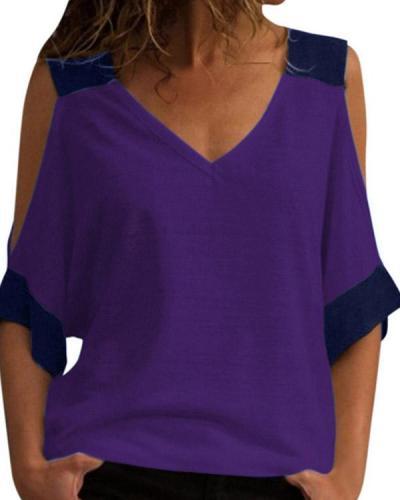 Casual Stitching Color Off Shoulder V-neck T-Shirt