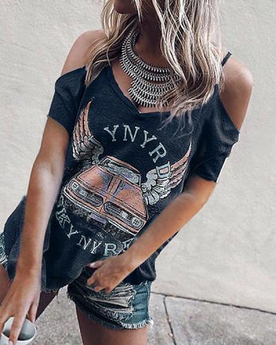 Casual Short Sleeve Printed Strap V-Neck T-Shirt