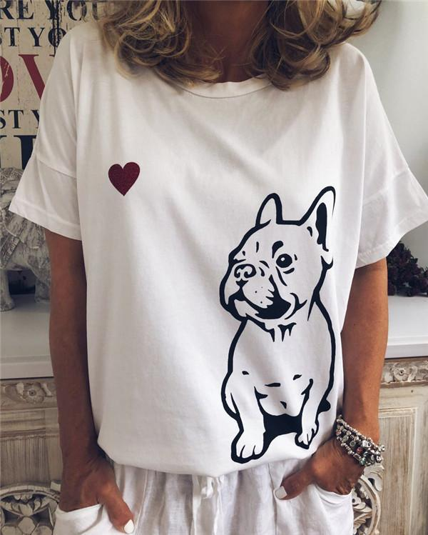 Round Neck Cute Dog Women Holiday Daily Blouse
