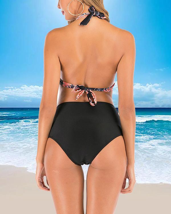 Print High Waist Split Swimsuit