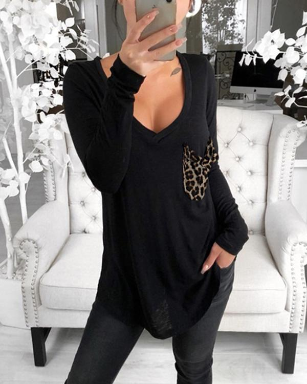 Casual V-neck Solid Color Patch Pocket Blouse Long-sleeved Loose Top