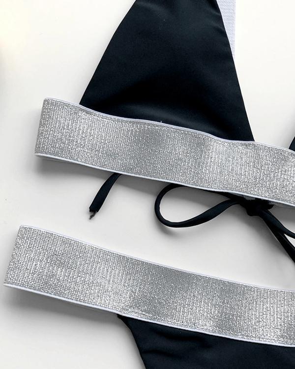 Glitter Tape Triangle Thong Bikini Swimsuit
