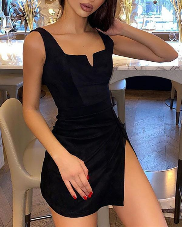 Women Split Side Dress Spaghetti Strap V Neck Sleeveless Black Dress