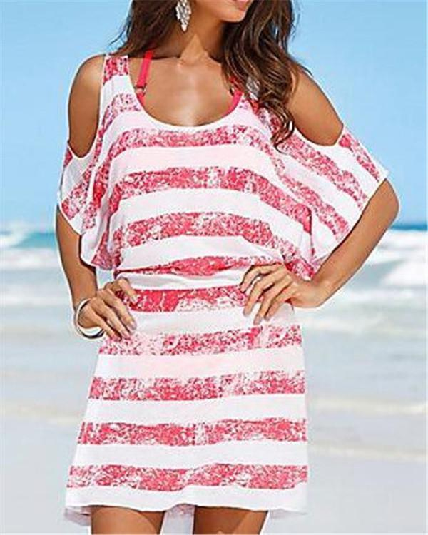Summer Beach Striped Short Sleeve Mini Dress