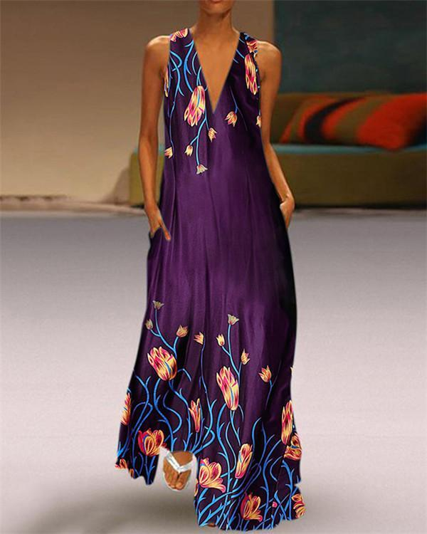 Floral Sleeveless Round Neck Holiday Daily Fashion Maxi Dresses