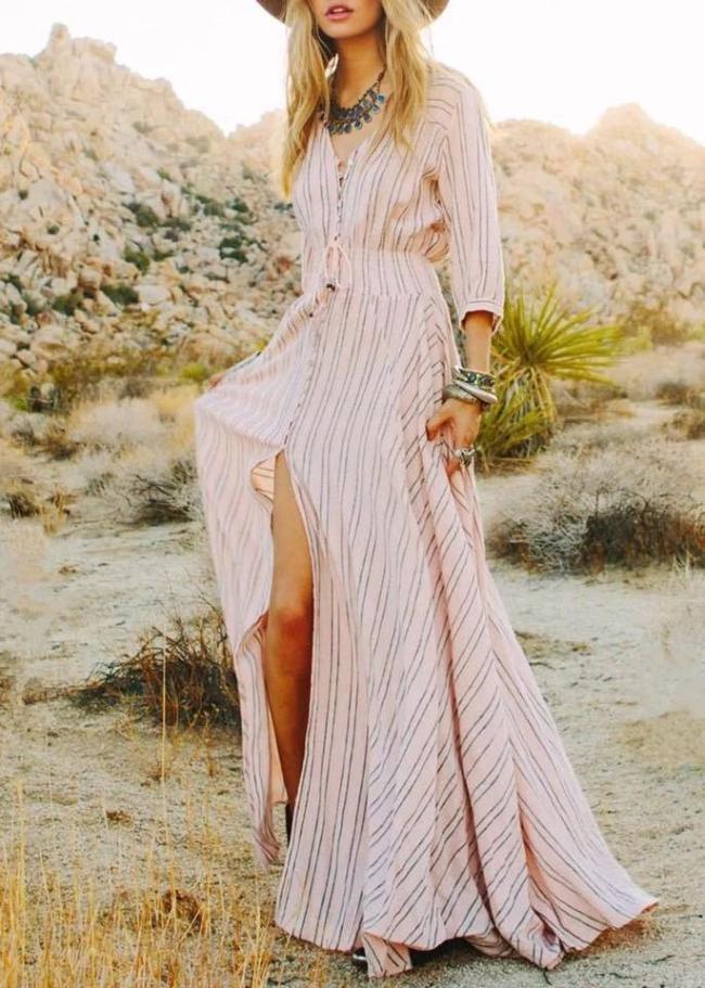 Pretty Striped V-Neck 3/4 Sleeves Bohemia Maxi Dress
