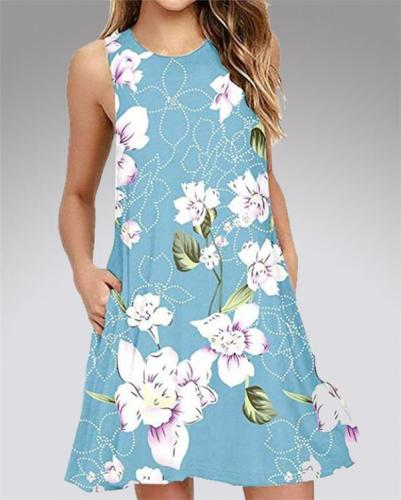 Floral Printed Fashion Sleeveless Mini Dress